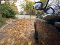 Achtung, erhöhte Rutschgefahr! In Herbst, wenn der Asphalt auch tagsüber länger nass bleibt, kann sich zusammen mit feuchten Herbstblättern ein für Auto- und Motorradfahrer tückischer Schmierfilm bilden. Foto: ADAC