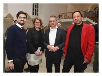 v.l.n.r  Sven Teuber, Jeannine Stephan (Kulturreferentin des Landtages) Hendrik Hering und Karsten Müller.
